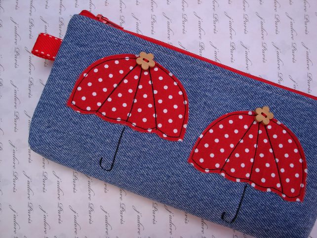 handmade denim zipper pencil case - make up b