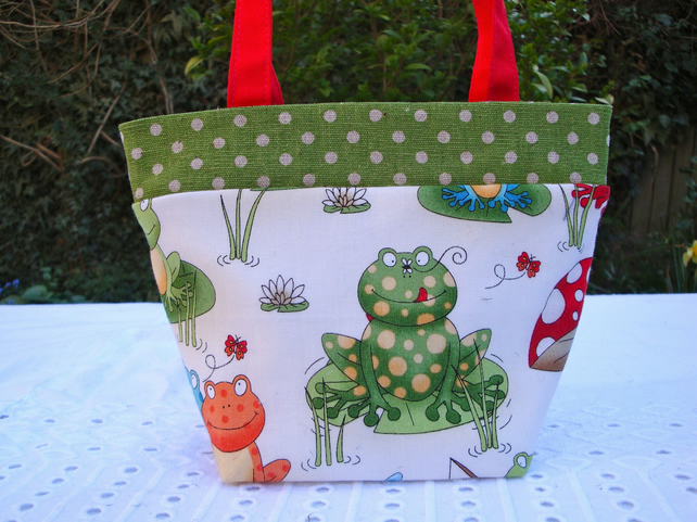 Cotton Mini Handbag - smiley frogs - girls - children.