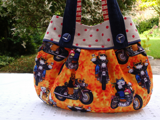 Cotton Mini Handbag - funky Cats on  bikes - slip pocket - magnetic clasp.