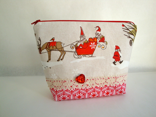 Cotton Christmas Toiletries bag - Wash Bag