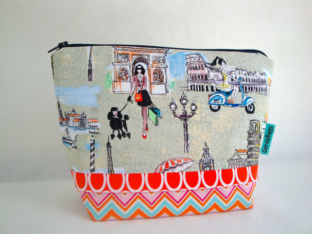 SALE Handmade Cotton Toiletries Bag - Wash bag - Paris