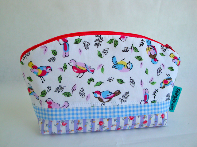 Cotton Make Up Bag - Birds - zipper pouch