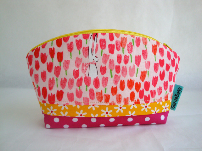 Cotton Make Up Bag - Tulips