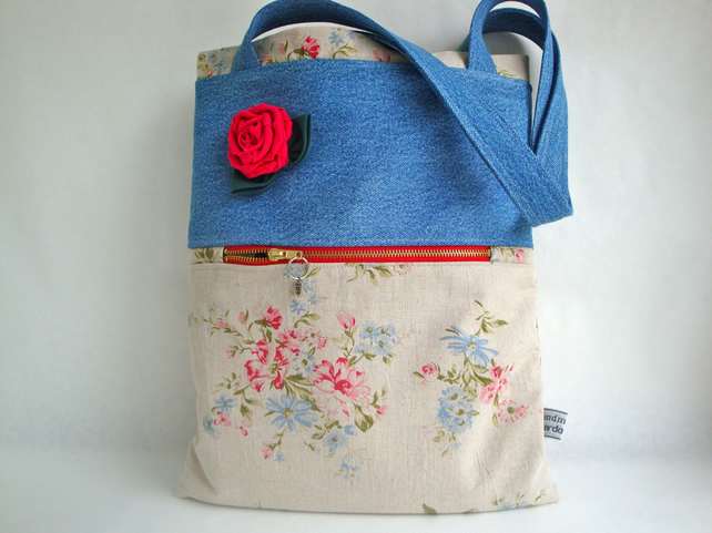 Linen and Denim Tote Bag - Shabby chic linen rose
