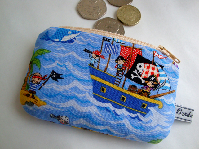 Kids cotton Coin Purse - Pirate Purse