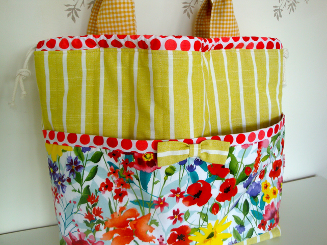 Cotton Drawstring Tote Bag - Beach Bag