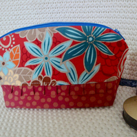 Floral Cotton make up bag  with ruffle