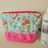 Floral cotton Wash Bag with ruffle - toiletries bag