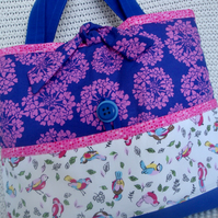Cotton Craft  storage bag - Craft project bag - knitting - crochet - embroidery