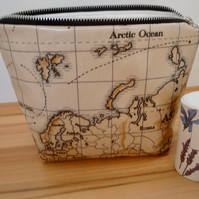 Oilcloth Wash Bag - World Map Wash Bag