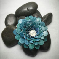 Teal flower brooch, turquoise flower clip, Blue flower brooch