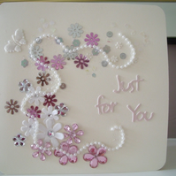 Floral, twirly romantic card
