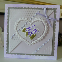 Romantic Violet Heart Card