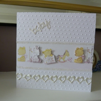White New Baby Teddy Card