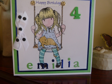 Cute Little Girl Personalised Birthday Card