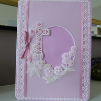 New baby girl parchment card