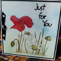 Original Painted Poppy and Daisy Card
