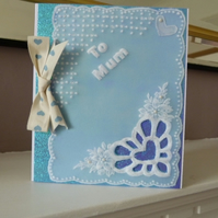 Blue Heart Mothers Day Card