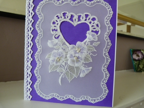 Romantic Purple Heart Parchment Card