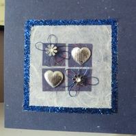 Dark Blue Hearts and more Hearts Card
