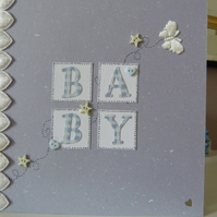 New Baby Boy Hearts Card