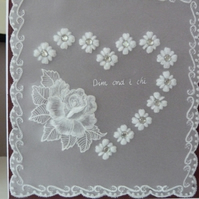 Rose and Heart Parchment Card Just for You - Dim ond i chi