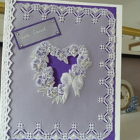 Floral Heart With Love Parchment Card - gyda cariad