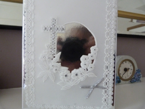 Silver  Cross Christening or Wedding Card