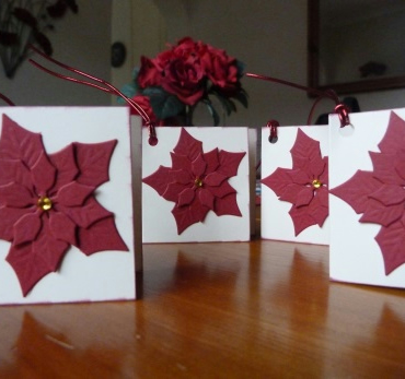 Pack of 4 Red Poinsettia Christmas Gift Tags