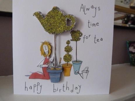 Funky Topiary Teapot Birthday Card