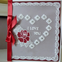 Romantic Rose Heart Parchment Card