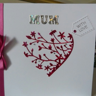 Cerise Heart Mothers Day card