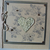 Vintage Gold Heart Anniversary Card