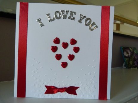 Red Button Heart Anniversary Card