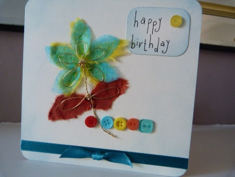 Gold Wire Daisy Birthday Card