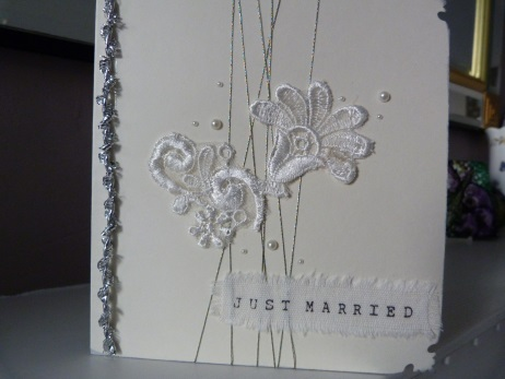 Just Married Lace Wedding Card