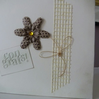 Brown Flower Congratulations Card