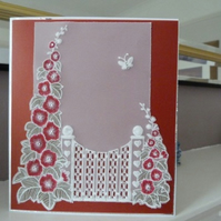 Red Hollyhock Personalised Parchment card