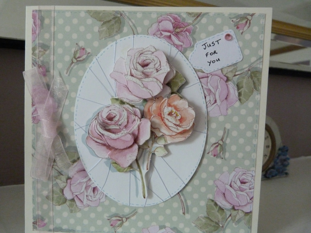 Rose Decoupage Birthday Card