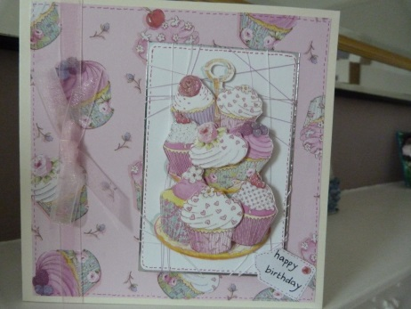 Mountain of Cupcakes Decoupaged Birthday Card