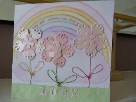 New Baby Girl Personalised Rainbow Card
