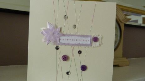Lilac Button Daisy Birthday Card