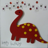 Childrens Brontosauras Birthday Card