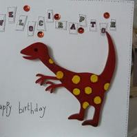 Childs Velociraptor Brthday Card
