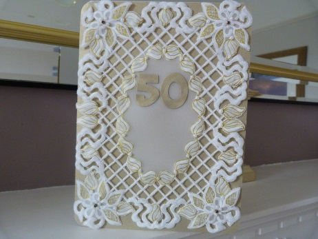 Very Special Parchment Lattice Golden Wedding Anniversary Card