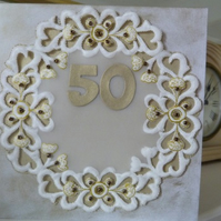 Circular Design Parchment Golden Wedding Anniversary card