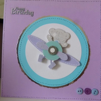 Childs Cute Aeroplane Birthday Card