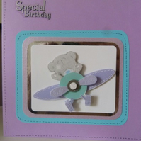 Childs Square Aeroplane Birthday Card personalised