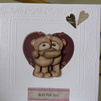 Just For You Heart Teddybears Card