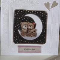 Romantic Teddies on Moon Valentines Day Card